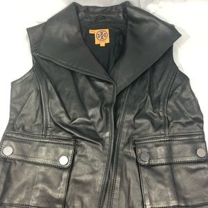 TORY BURCH LEATHER MOTORCYCLE VEST
